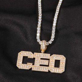 Custom Baguette Cut Name Pendant in Gold