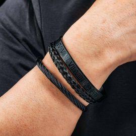3Pcs Braid Steel Wire Open Bracelet with Roman Numbers Bracelet Set in Black Gold