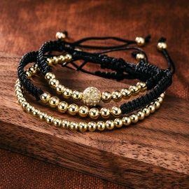 3Pcs Braid Rope Gold Copper Beads Bracelet