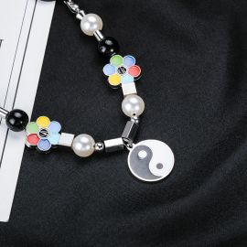 Tai Chi and Flower Pearl Necklace