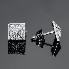 Iced Pyramid Stud Earrings