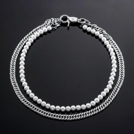 Double Layer Pearl and Cuban Chain Necklace
