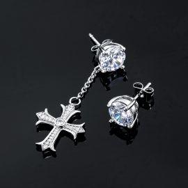 Iced Cross Dangle Asymmetric Stud Earrings
