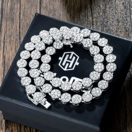 10mm Iced Round Flower Cluster Chain in White Gold