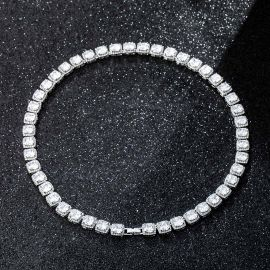 10mm Clustered Tennis Chain in White Gold