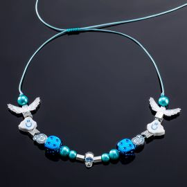 Cloud Blue Dice Pearl Necklace