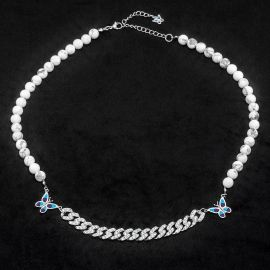 Butterfly and Iced Cuban Bead Necklace