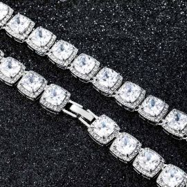 10mm Clustered Tennis Chain and Bracelet Set in White Gold