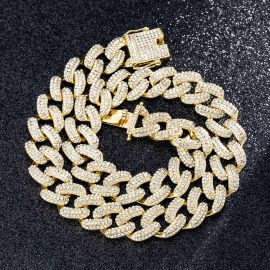 20mm Iced Miami Cuban Chain in Gold