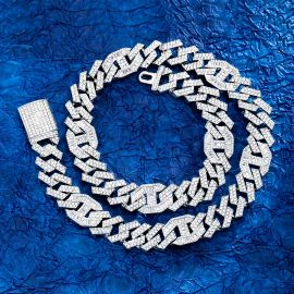 14mm Baguette G-link Cuban Chain in White Gold