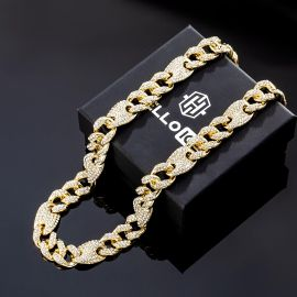 16mm Iced G-link Cuban Chain in Gold