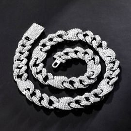 16mm Iced G-link Cuban Chain in White Gold