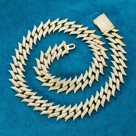 18mm Iced Spiked Cuban Chain in Gold