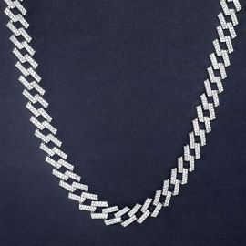 14mm Iced Prong Cuban Chain in White Gold
