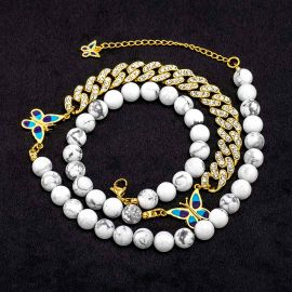 Gold Butterfly and Iced Cuban Bead Necklace