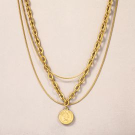 Women's Gold Coin Multi Layered Necklace