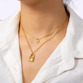 Women's Padlock Layered Necklace