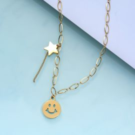 Women's Smile Face and Star Necklace