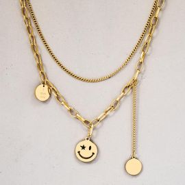 Women's Assorted Smile Face Layered Necklace