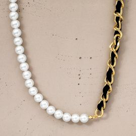 Women's Half & Half Pearl and Cuban Toggle Clasp Necklace