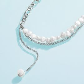 Women's Layered Stitching Pearl Necklace