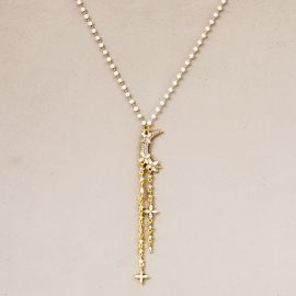 Women's Iced Star and Moon Necklace
