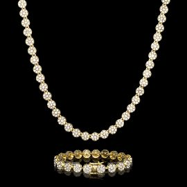 10mm Iced Round Flower Cluster Chain and Bracelet Set in Gold