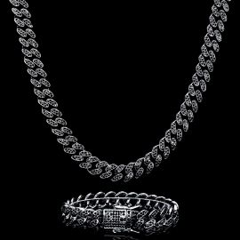 12mm Black Iced Miami Cuban Link Chain and Bracelet Set