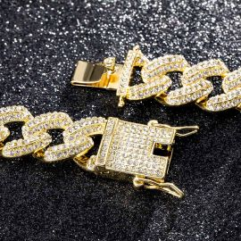 20mm Iced Miami Cuban Chain and Bracelet Set in Gold