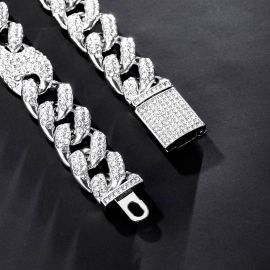 16mm G-link Cuban Chain and Bracelet Set in White Gold