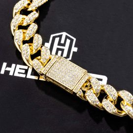 16mm Iced G-link Cuban Chain and Bracelet Set in Gold