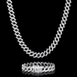 14mm Iced Prong Cuban Chain and Bracelet Set in White Gold