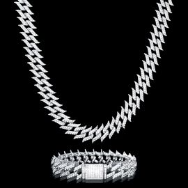 18mm Iced Spiked Cuban Chain and Bracelet Set in White Gold
