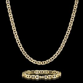 8mm Iced G-link Chain and Bracelet Set in Gold