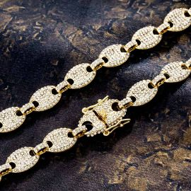12mm Iced Coffee Bean Chain and Bracelet Set in Gold