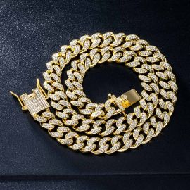 12mm Iced Miami Cuban Chain in Gold