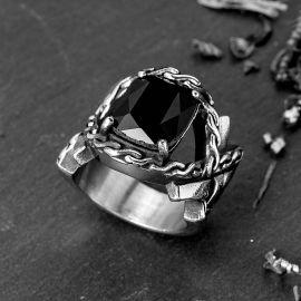Iris Pattern Gem CZ  Stainless Steel Ring in Black