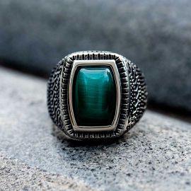 Retro Pattern Gemstone  Stainless Steel Ring