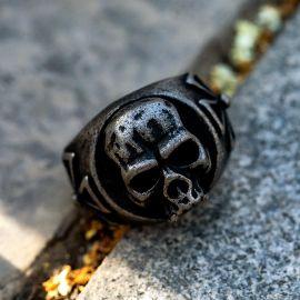 Skull Iron Cross  Stainless Steel Ring