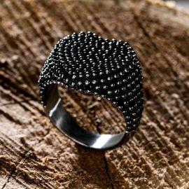 Retro Heart Polka Dot Stainless Steel Ring