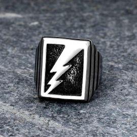 Lightning Bolt Stainless Steel Ring