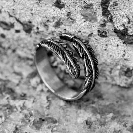 Vintage Feather Wrap Stainless Steel Ring
