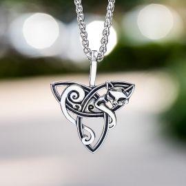 Celtic Fox Stainless Steel Pendant
