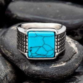 Square Turquoise Stainless Steel Ring