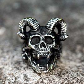 Baphomet Sheep Skull Stainless Steel Ring