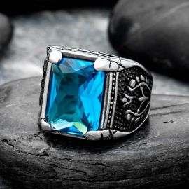 Blue Stone Stainless Steel Ring