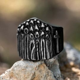 Cross Baptized Believer Stainless Steel Ring