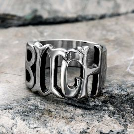 """""""BITCH"""" Letter Stainless Steel Ring"""