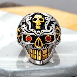 Biker Red Eyes Skull Stainless Steel Ring