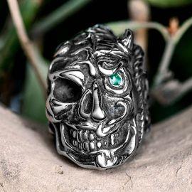Green Eyes Skull Stainless Steel Ring